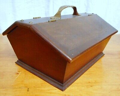 American Antique 19th C. Cutlery Box Walnut with Victorian Brass Handle