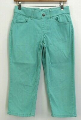 Riders by Lee Women's 6 M Mid Rise Capri Teal Pants Elastic Stretch Waistband