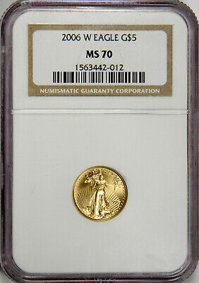 2006-W $5 Gold Eagle Burnished 1/10 Tenth Oz. Ngc Ms70 ~ Priced Right!