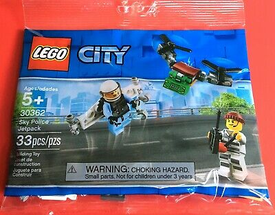 Lot of 3 bags New /& Sealed LEGO 30362 CITY Sky Police Jetpack Polybag 33 Pcs.