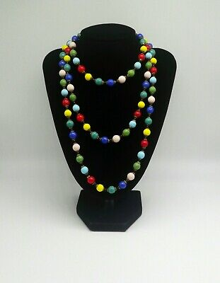 Harlequin Art Deco Glass Bead Multicoloured Flapper Length Necklace 53 Inches