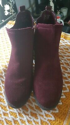M&S Kids' Suede Side Zipped Glitter Burgundy Boots.Older Girls/Ladies Size: 6/39