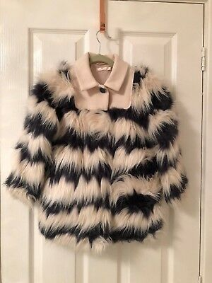 Billie Blush Girls Pink And Grey Striped Faux Fur Coat - 4 Yrs 102Cm