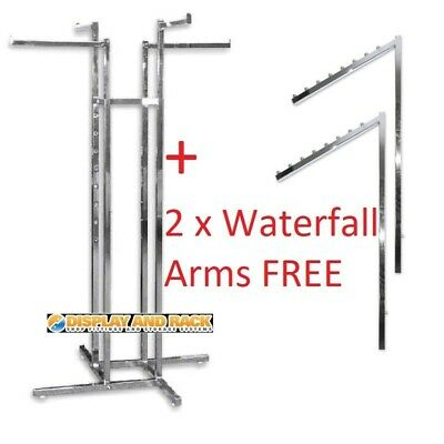 4 Way Clothes Rack - Straight Arms + 2 x FREE Sloping Arms - New