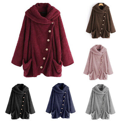 Womens Winter Warm Button Fleece Fluffy Button Hooded Coat Jacket Outw FR