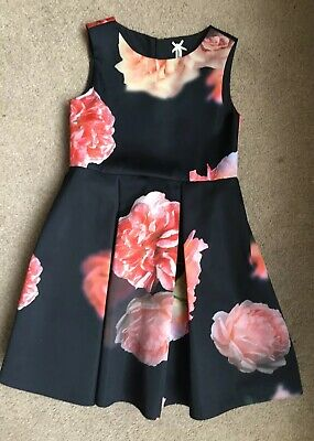 Next Girls Black Party Prom Dress Floral Christmas Age 5-6 Worn Once