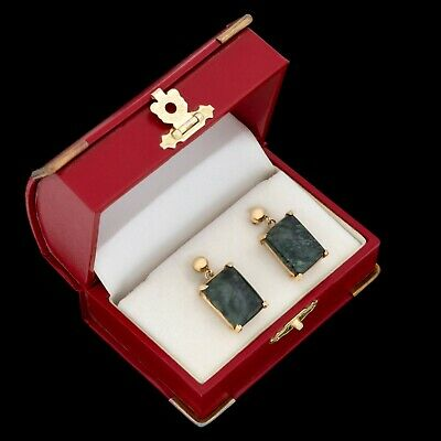 Antique Vintage Art Deco Retro 14k Yellow Gold Mottled Jasper HUGE Earrings