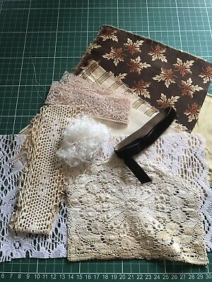 DIY Junk Journal Coffee & Tea Dyed Shabby Lace & Fabric Snippet Trim Kit