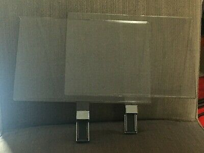 Assorted Lot 14 Retail Acrylic Sign Holders, Magnetic, Clamp, Chrome, Frameless