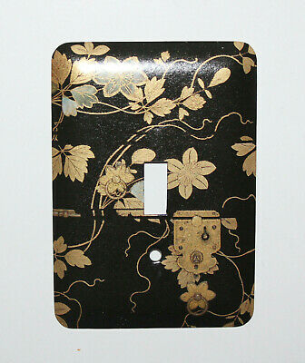 Vintage ASIAN Floral Theme Black Gold Decorative Metal Switch Plate Cover NOS