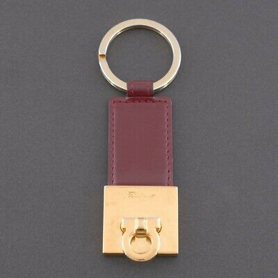 Salvatore Ferragamo Ganchini Bordeaux Leather Gold Tone Key Ring Authentic #189