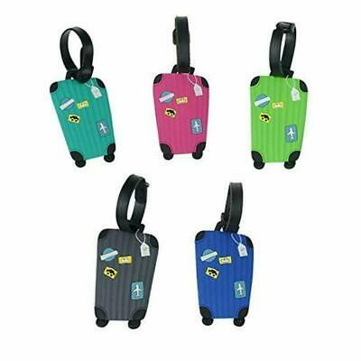 Sprießen Luggage Tags 5 Pack, Flexible Silicone Travel Tags, ID Labels, Name Ca