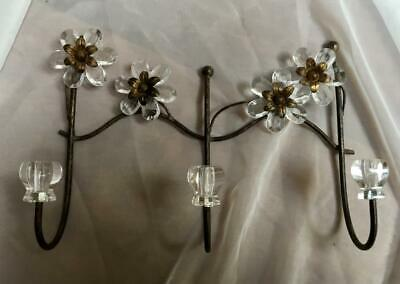 Three-hanger Decorative Wall Hook~Clear Flowers~Antique Gold~New!