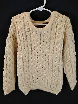 Inis Crafts Kids Sz 5-7 Wool Fishermen Cable Knit Ivory Sweater Made in Ireland