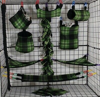 Green and Black Plaid*15 PC Sugar Glider Cage set * Rat * double layer Fleece