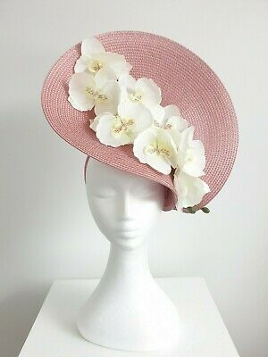 Miss Orchid womens orchid headband  fascinator in Rose pink /off white