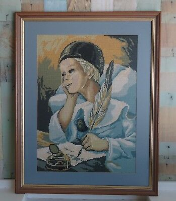 Vintage Completed & Framed Tapestry Picture - Male Harlequin Child Scholar Blue