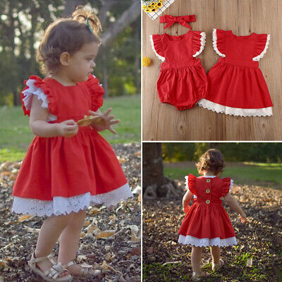 AU Christmas Big/Little Sister Matching Clothes Baby Girl Romper Dress Outfits