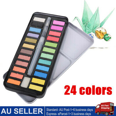 24 Watercolour Paint Set With Brush Painting Water Colour Art Artist Kit