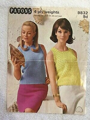 Vintage Knitting Pattern Patons No.9832 Ladies Sleeveless Tops Knit and Crochet