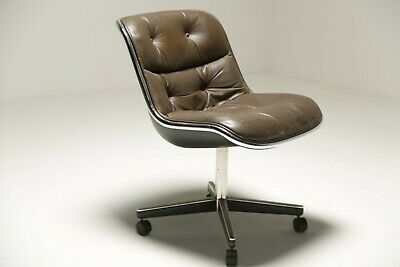 Vintage Leather Executive Desk Chair by Charles Pollock Knoll *FREE UK DELIVERY*