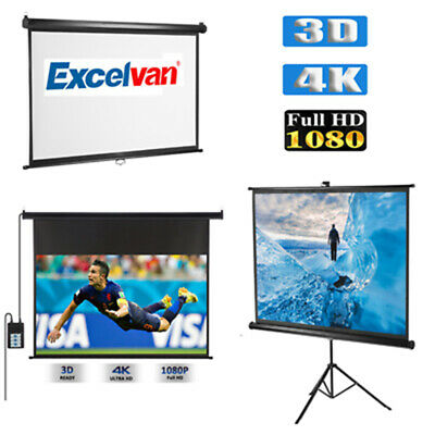 "100"" Projector Screen Portable Manual Tripod Electric Motorised Projection 3D 4K"
