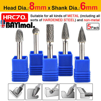 5pcs 1/4'' Tungsten Carbide Rotary Point Burr Die Grinder Shank Drill Bits Set