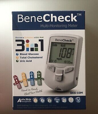Benecheck PLUS Multi Monitoring Device 3 in 1 Test Cholesterol Uric Acid Glucose