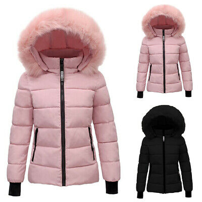Womens Ladies Quilted Winter Coat Puffer Fur Collar Hooded Jacket Parka Outwear