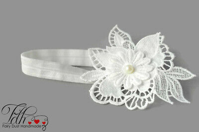 Baby flower headband for christening baptism, flower lace handmade hair band UK