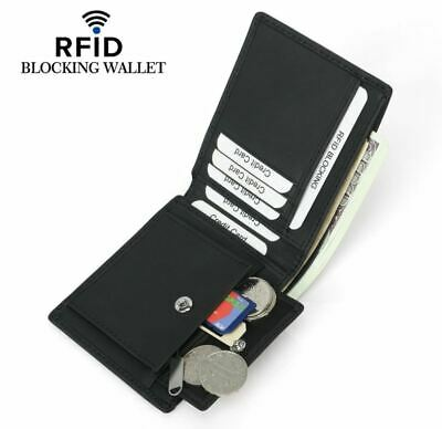 Mens Wallet Black RFID Blocking Bifold Genuine Leather Coin Compartment Pocket
