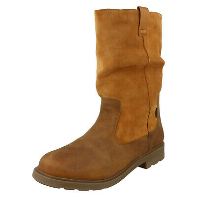 Girls Clarks 'Astrol Rise' Tan Leather Warmlined Boots - F Fitting