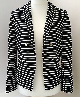 Wallis Black White Striped Textured Blazer Jacket Size 14