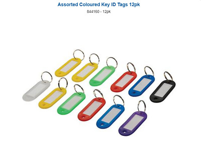 Silverline Pack Of 12 Quality Assorted Coloured Key ID Tags Key Identification