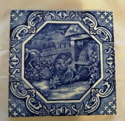 minton & hollins tile with bear and beeskeps C 1880 - 6 inch