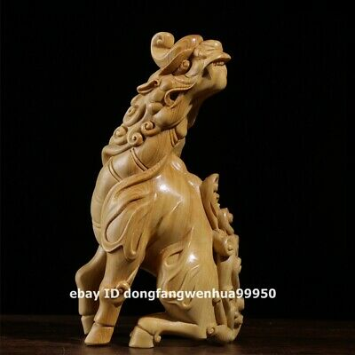 13cm China Lobular boxwood wood Wealth Foo dog lion Dragon Kylin qilin sculpture