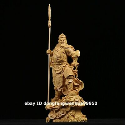 Chinese Lobular boxwood wood Dragon Guan Gong guan yu Buddha soldier sculpture