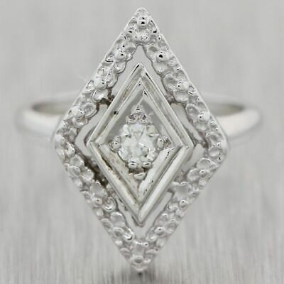 1930's Antique Art Deco 14k White Gold 0.10ctw Diamond Ring