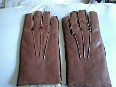 LEATHER GLOVES real FUR LINED, ladies. brown VINTAGE