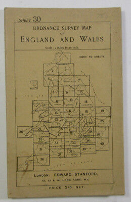 1914 Old Antique OS Half-Inch map Colchester Ordnance Survey Sheet 30 Hill Shade