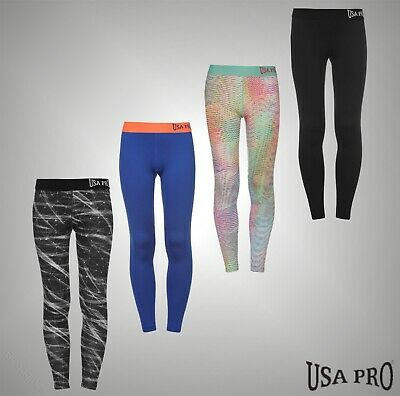 Junior Girls USA Pro Stretch Close Fit Gym Training Tights