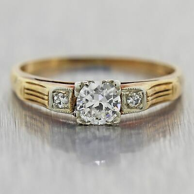 1930's Antique Art Deco 14k Yellow Gold 0.29ctw Diamond Band Ring