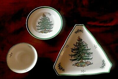 Lot Of 3 Spode England Christmas Tree Dishes Plate Bowl Triangular Serving Tray