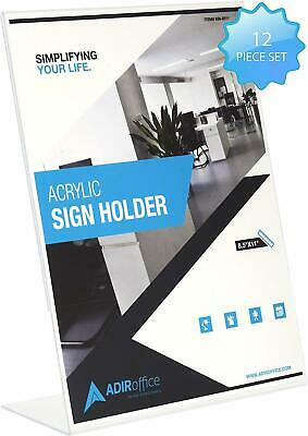 AdirOffice 8.5 in x 11 in Slanted Side-Loading Acrylic Sign Holder 12 Pack