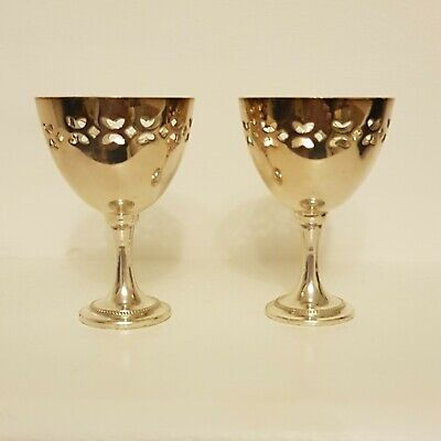 Lovely Antique Silver Plate Egg Cups And Spoons