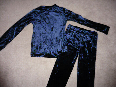 Girls Navy Crushed Velvet Lounge Suit 11-12 Years