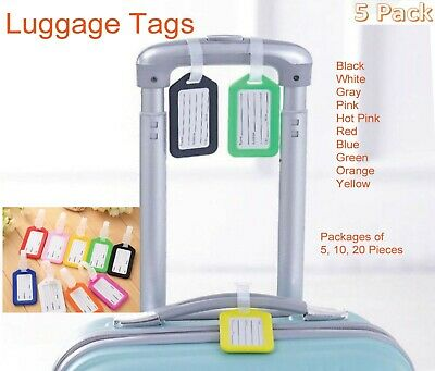 5x Travel Luggage Bag Tag Plastic Suitcase Baggage Office Name Address ID Label