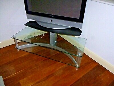 Tv Stand Glass  Brushed Aluminium 3 Tier With Tempered Glass Sony
