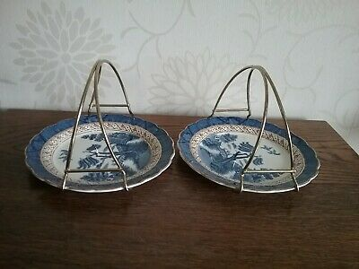 Antique Silicon china 2 tea cake plates  Booths Real Old Willow Patt no 9072