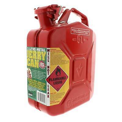 Proquip Jerry Can Red Metal Fuel Petrol 5L Army Tough Aust/NZ Standard 2906:2001